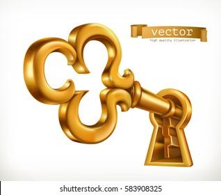 Golden key in keyhole 3d vector icon