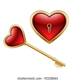 Golden key with a little heart inside and lock as heart