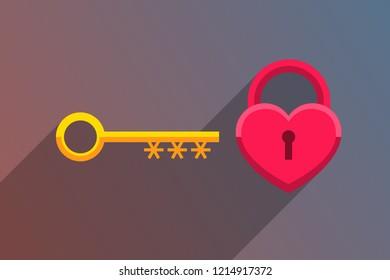 Golden key and red heart-padlock. Secret of love