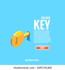 The golden key sticks out in the keyhole and the text with the button, isometric image