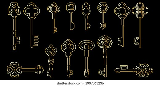Golden keys set on black background. Decorative elegant luxury design. Vector illustration. Stock image. EPS 10.