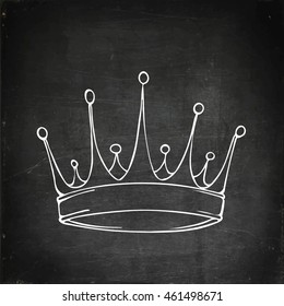 Golden king crown. Hand drawn crown vector stock illustration. Chalk board drawing.
