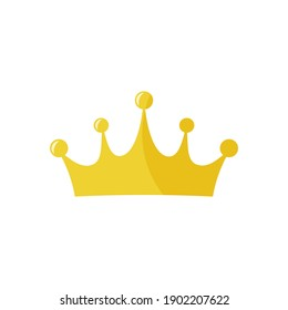 Golden king crown vector icon on white background