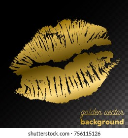 Golden kiss lips imprint on black background