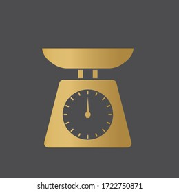 golden kitchen scale weight icon - vector illustration