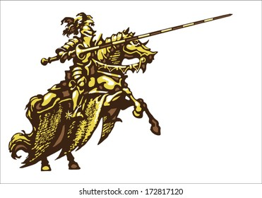 Golden Knight in four colors on a white background - left