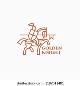 Golden knight logo design template in linear style. Vector illustration.