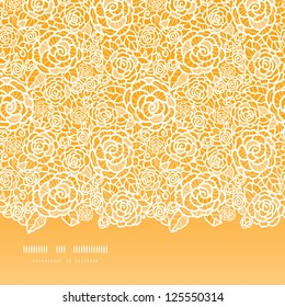 Golden lace roses horizontal seamless pattern background
