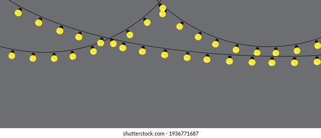 golden lamp garland gray background. Light vector illustration. Party banner design. Stock image. EPS 10.