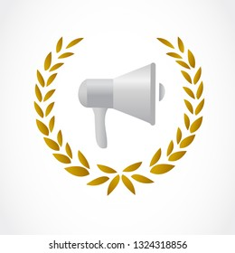 golden laurel with a communication loudspeaker inside. illustration design isolated over a white background.