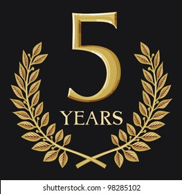 golden laurel wreath 5 year (year anniversary or jubilee)