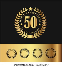 Golden Laurel Wreath Anniversary Badge. 50 Years Anniversary. Vector Illustration