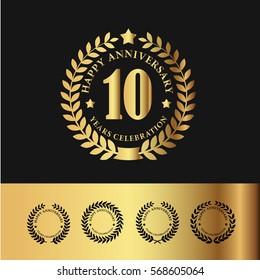Golden Laurel Wreath Anniversary Badge. 10 Years Anniversary. Vector Illustration