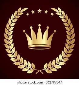 golden laurel wreath with crown / vector illustration