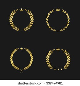 Golden laurel wreath icon set. Victory, champions, winner concept