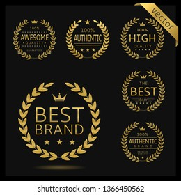 Golden Laurel wreath label badge set isolated. Awesome quality, best brand, authentic brand. Vector illustration