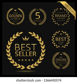 Golden Laurel wreath label badge set isolated. Best seller, five stars, best brand, genuine quality. Vector illustration