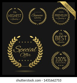 Golden Laurel wreath label badge set isolated. Premium choice, top, hot sale, awesome quality. Vector illustration