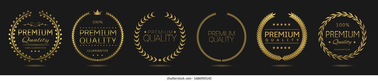 Golden Laurel wreath label badge set isolated. Premium quality golden labels. Vector illustration