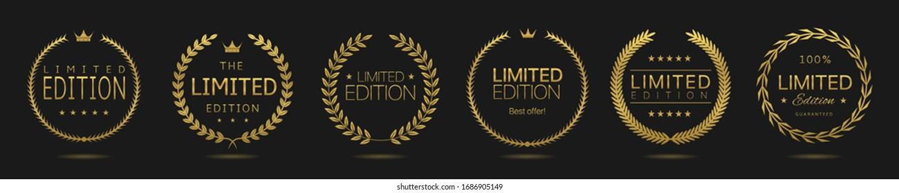 Golden Laurel wreath label badge set isolated. Limited edition golden labels. Vector illustration