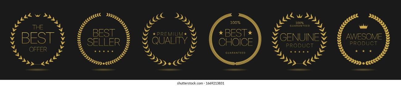 Golden Laurel wreath labels. Best offer, best seller, premium quality, genuine product, awesome product, best choice. Vector illustration