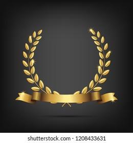 Golden laurel wreath with ribbon isolated on dark background. Vector design element