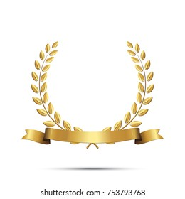 Golden laurel wreath with ribbon isolated on white background. Vector design element.