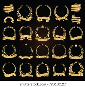 Golden laurel wreath with golden ribbons vector illustration collection