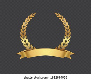 Golden laurel wreath with ribbon.Vector laurel wreath.