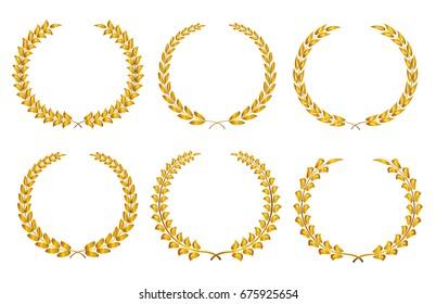 Golden laurel wreaths.Laurel wreaths collection.