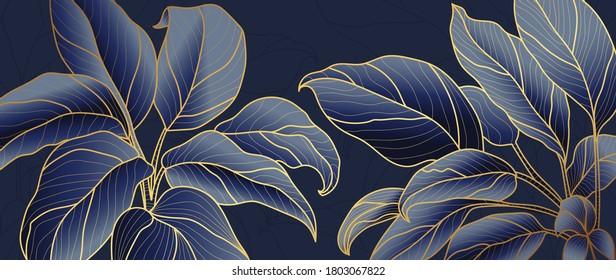 Golden leaf botanical modern art deco wallpaper background vector. Line arts background design for interior design, vector arts, fashion textile patterns, textures, posters, wrappers, gifts etc. - Shutterstock ID 1803067822