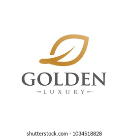 golden leaf luxury logo icon vector template
