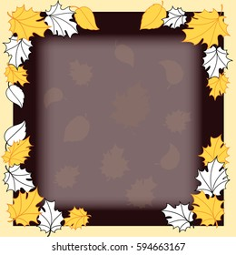 Golden leaves frame vector dark, digital artwork.