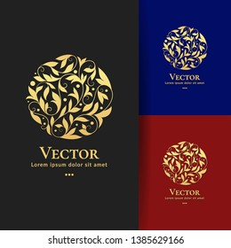 Golden leaves logo template with abstract vector elements. Can be used for emblem and monogram. Great for invitation, flyer, menu, brochure, background or any desired idea.
