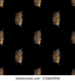 Golden leaves on black background. Vector seamless pattern. Art deco style. Vintage background.