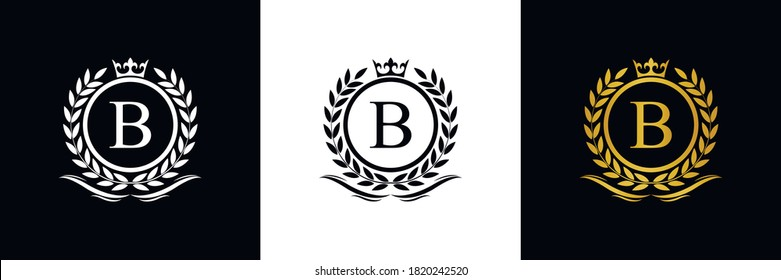 Golden Letter B laurel wreath template logo Luxury gold letter with crown. Monogram alphabet . Beautiful royal initials letter.