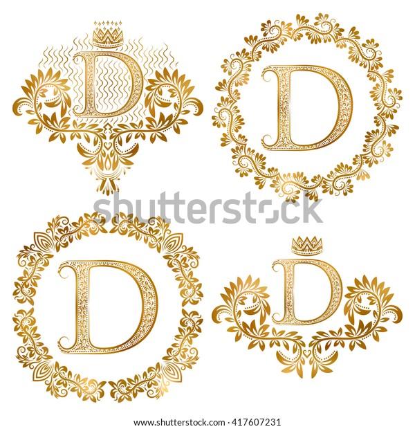 Golden Letter D Vintage Monograms Set Stock Vector