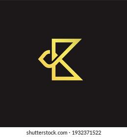 golden letter K logo design vector