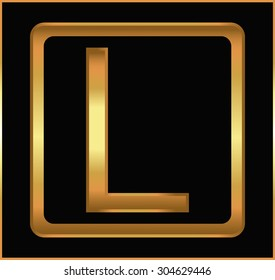Golden letter L.Golden alphabet letter L logo.Vector illustration.