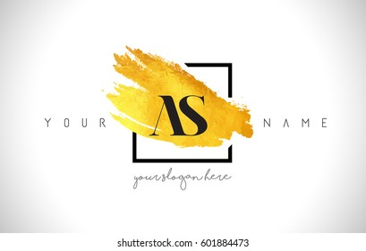 AS Golden Letter Logo Design with Creative Gold Brush Stroke and Black Frame.
