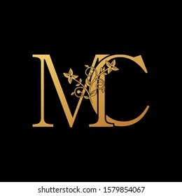 Golden Letter M, C, MC Luxury  Logo Icon, vintage design concept floral leaves with letter M and C, MC gold color for initial, luxuries business, hotel, wedding service and more brand identity.