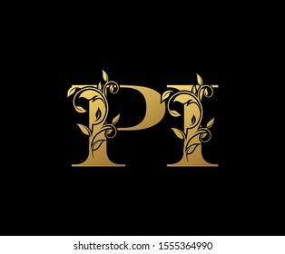 Golden letter P , I and PI  Vintage Gold Floral Logo Icon, overlapping monogram logo, elegant luxury gold color on black background. CLassy Letter Logo Icon.