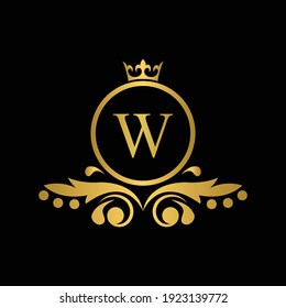 Golden letter W logo Luxury letter with crown.  Monogram alphabet . Beautiful royal initials letter. template logo for design