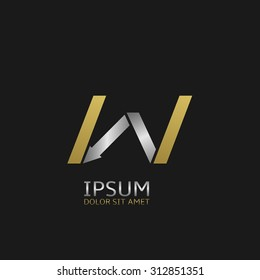 Golden Letter W logo template with silver arrow