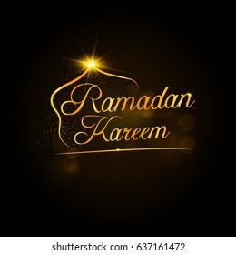 Golden Lettering Ramadan Kareem Vector Illustration.