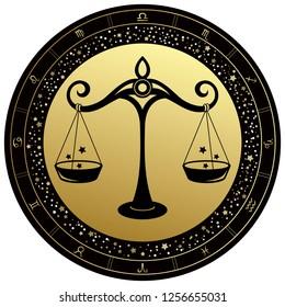 Golden Libra horoscope symbol. Vector Zodiac sign.