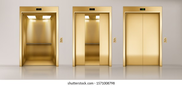 Golden lift doors. Office hallway with closed, half closed and open elevator cabins. Vector realistic empty interior with passenger or cargo lifts with button panel and floor indicator on wall