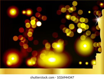 Golden light bokeh abstract black background with gold frame. Academy award icon in flat style isolated. Gold Silhouette statue icon. Films and cinema symbol stock vector illustration.