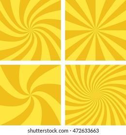 Golden and light brown vector spiral design background set.