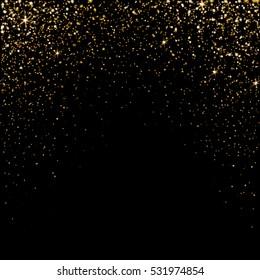 Golden light effect. Star burst light with golden sparkles. Vector illustration on black